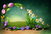 Spring background for greeting card — Stock Photo
