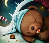 Bear sleeping in the den, sucking candy. — Foto Stock
