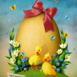 Greeting card with Easter egg and ducks — Stock Photo