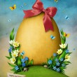Greeting card with gold Easter egg. — Stock Photo