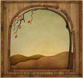 Wooden frame in metal framed — Foto de Stock