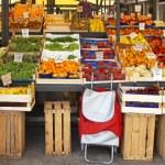 Farmers market stall — Stock Photo