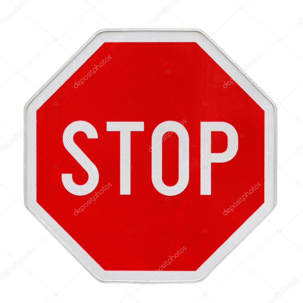 Stop traffic sign with new retroreflective fine surface — Stock Photo #14742377