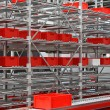 Red crates warehouse — Stock Photo