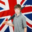 Brit with umbrella — Stock Photo
