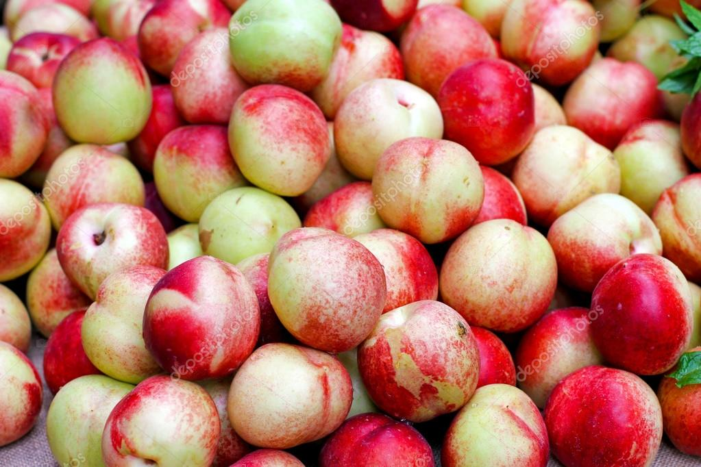 Big pile of fresh organically grown nectarines — Stock Photo #18472661
