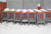 Shopping carts snow — Stock Photo
