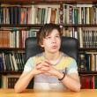 Boring in library — Stock Photo