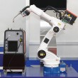Robotic arm welder — Foto Stock