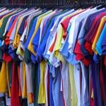 T shirts at rail — Stock Photo #34500989