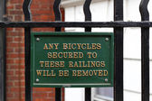 No bicycle railing sign — Stock Photo