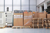 Boxes and pallets — Stock Photo