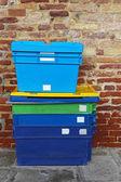 Cajas de plástico del envío — Foto de Stock