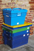 Plastic shipping crates — Stock Photo