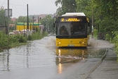 Bus in floods — Stock Photo