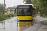 Bus in flood — Stock Photo