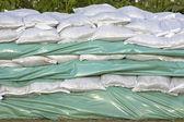 Wall of sandbags — Stock Photo