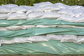 Wall of sandbags — Stock Photo