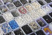 Plastic parts bins — Stock Photo