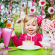 Happy girl with birthday cake — Stock Photo #13100101