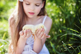 Girl with chickens — Stock Photo