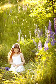 Cute girl in the meadow — Stock Photo