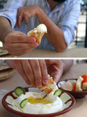 Labneh Dipping and offering — Stock Photo