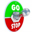 Go Vs Stop Toggle Switch Beginning and Ending — Stock Photo