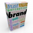 Brand Words on Box Package Branding Product — Stock Photo