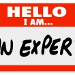 Стоковое фото: Hello I Am Expert Nametag Expertise Tag
