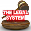 Gavel Words The Legal System Law and Order - Stock Photo