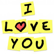 Stock Photo: I Love You - Words on Yellow Sticky Notes