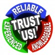 Stock Photo: Trust Us Circle Words Reliable Experienced Knowledgeable