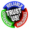 Trust Us Circle Words Reliable Experienced Knowledgeable - Stock Photo