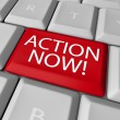 Stock Photo: Action Now Computer Key Demanding Urgent Act