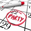 Party Word Circled Calendar Day Word Reminder — Foto de stock #13009597