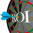 Royalty-Free Stock Photo: ROI Return on Investment Dartboard Targeting Wealth