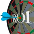 ROI Return on Investment Dartboard Targeting Wealth — Foto Stock