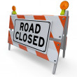 Road Closed Barricade Construction Warning Sign - Stock Photo