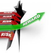 Risk Vs Reward Words Arrow Rises Over Hole — Stock Photo