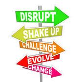 διαταράσσουν την αλλαγή κατεύθυνσης νέες ιδέες τεχνολογία σημάδια — Φωτογραφία Αρχείου