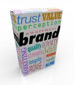 Palabras de la marca en caja marca producto — Foto de Stock