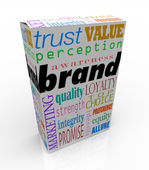 Palavras de marca no pacote da caixa marca produto — Foto Stock