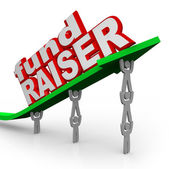 Fundraiser Lifting Arrow Words Fund Raiser — Stock Photo