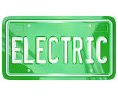 Electric Word Car Vanity License Plate Green Automobile — Stockfoto