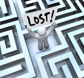Lost Man Holding Sign in Labyrinth Maze — 图库照片