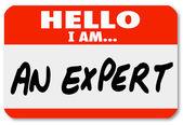 Hej är jag en expert nametag expertis tagg — Stockfoto