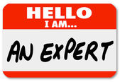 Hello I Am an Expert Nametag Expertise Tag — 图库照片