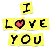 I Love You - Words on Yellow Sticky Notes — Stock Photo