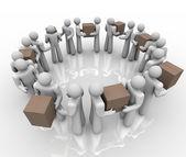Leverans och inleverans arbetstagare leverera paket lådor logisti — Stockfoto